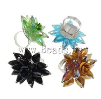 Free shipping!!!Crystal Finger Ring,women fashion, Iron, with Crystal & Aluminum, platinum color plated, colorful plated