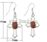 Free shipping!!! Earrings,western, Goldstone, Cross, 16x41x6mm, Length:Approx 1.6 Inch, 20Pairs/Lot, Sold By Lot