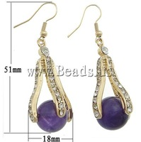 Free shipping!!! Earrings,Supplies For Jewelry, Amethyst, with rhinestone, 18x51x15mm, Length:Approx 2 Inch, 10Pairs/Lot