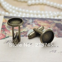 FREESHIPPING!!! NICE 100pcs/lot into12-20mm Bronze Cufflink Findings Cuff Link Blanks Backs DIY jewelry  Finding