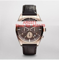 Free Shipping New Men's Chronograph Brown Strap Rose Retro Classic Men's AR0371 Watch with original box Manual card