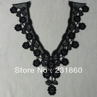 3 X Neckline Black Venise Lace Sewing Dress Costume Applique Craft 25mm X 30.5mm
