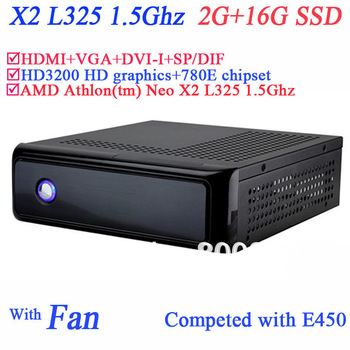 mini pcs with XP embeded 780E chipset AMD Athlon tm Neo X2 L325 1.5Ghz HD3200 graphic 2G RAM 16G SSD HDMI VGA DVI-I SP/DIF