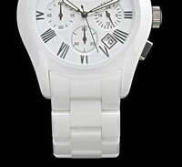free shipping NEW men's Gents White Ceramic Round White Dial Chronograph Watch AR1403 with Original box and card