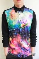 Free shipping 2013 new arrival,3D printing galaxy shirts for men,mens printed shirt  M,L,XL black grey color