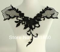 1 Pc Motif Applique Black Flower Neckline Neck Collar Venise Lace Trims