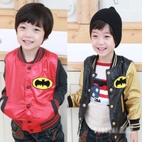 2013 fall new arrival fashion handsome 2 colors batman logo children waterproof button coat kids sport jacket