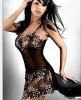 High quality special style ML2091 Women's Stripe Black flower pattern Babydoll Sexy Sleepwear