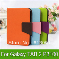 1pc Fashion PU leather Case for Samsung Galaxy Tab 2 7.0 P3100 P3110 Case with Stand Case Wallet Case free shipping