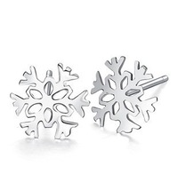 Y-030 925 sterling silver stud earrings snowflake fashion women