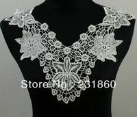 1 X Floral Applique Off White Neck Neckline Collar Venise Lace Trims Craft