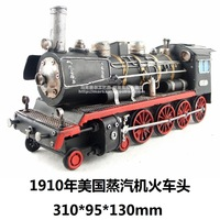 Metal vintage steam train model handmade tieyi birthday gift derlook model antique crafts