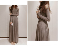 2014 new fashion female cotton long design one-piece dress autumn and winter dress off the shoulder dress