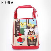 2014 Direct Selling Real Zipper Totes Women Character Women Handbags Bag Bolsas Braccialini Women's Paragraph Canvas Handbag