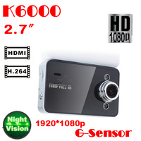 by dhl or ems 50 pieces 8GB Novatek K6000 Full HD Car DVR 1080p 2.7' Video Recorders Mini Camera G-Sensor Night Vision