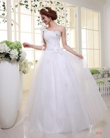 2014 Hot Sale Limited Sashes Scoop Gown Wedding Dress Lyg One Shoulder Formal Dress Paillette Strap Lacing Slim Princess Wedding