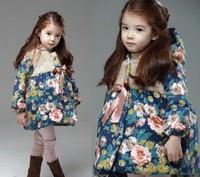 Kids Girls Winter Flower Print Jackets & Coats Children Girl Fashion Long Hoodies Flora Outerwear Baby Girls Outfits Wear