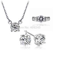 shipping 2013 new fashion Austrian crystal white gold platedjewelry set Js-1117