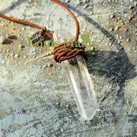 Big lotus mann natural white crystal column leather cord necklace radiation-resistant balancing