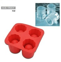 Wholesale Ice Cube Tray 4 Holes Ice Mould Cup Shape Freeze Bar Party Cooking Creative Ice Mold Tool Jelly Chocolate Mold