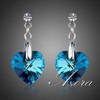 AZORA The Heart of the Ocean Platinum Plated Blue Stellux Austrian Crystal Drop Earrings TE0036