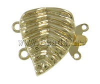 Free shipping!!!Brass Box Clasp,ladies, gold color plated, 2-strand, nickel, lead & cadmium free, 18.50x16x5.50mm