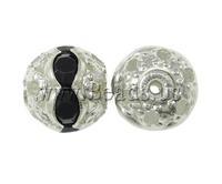 Free shipping!!!Rhinestone Jewelry Beads,Brand jewelry, Brass, Round, silver color plated, with rhinestone & hollow, nickel