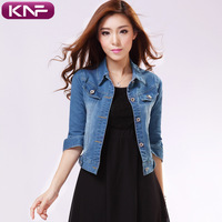 Autumn fashion denim outerwear female half sleeve slim three quarter sleeve top all-match short jacket