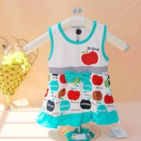 Free shipping!Wholesale Fashion Cartoon apple design Baby girls Dresses Kids Sundress 6 pcs