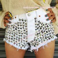 Brand  new women white denim shorts spike rivet shorts HOT summer jeans STUDDED FESTIVAL PLUS SIZE shorts VINTAGE S-XXXL