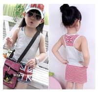 Retail 2013 Summer New Children Girl's Cotton Casual Flag Dress Sleeveless Stripe Vest Dresses Free Shipping