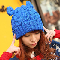 16 twisted autumn and winter horn knitted hat roll up hem pullover knitting wool cap thermal millinery
