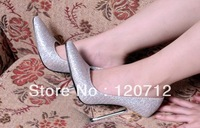 13 cm super sexy fashion silver sequins high heel pointed shoes,women's metal thin heel large size wedding shoes,size 11 12 13