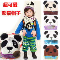 5pcs/lot 2013 NEW Panda shaped Lovely Boy girl Hats,winter baby Animal hat,Knitted caps children Keep warm hat 4 color gifts
