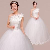 Free Shipping 2014 Fashion High-quality Sweet Princess  White One  Shoulder Rhinestone Flower Bride Slim Wedding Dress