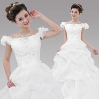 Free Shipping New 2014 Sweet Princess White Embroidered Rhinestone Decoration Lace  Bride Slim Wedding Dress