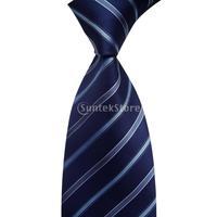 Free Shipping Stripe Tie Business Necktie Dark Blue 4#