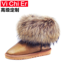 2013 winter wool and in fur one snow boots fox fur female short boots waterproof