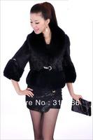 Free shipping black short rabbit coat jacket with fox fur collar M/L/XL/XXL/XXXL