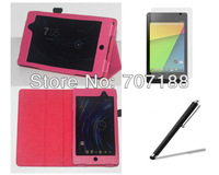 New folio stand Litchee PU Leather Case Cover +Screen Protector+Stylus For Google Nexus 7 II New 2 generation , Free shipping!!!
