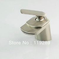 Single Hole Mount Waterfall Bathroom basin Faucet with Single Handle,Duck mouth shape Brushed water Basin sink Mixer Tap XP-017