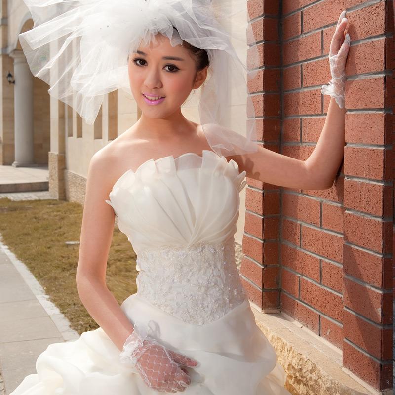 Livraison gratuite 2014 5seconde tuer amie perles perles des robes de mariée manches fermeture éclair top tube printemps, princesse robe de mariée