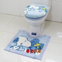 Free shipping Toilet SNOOPY three piece set zuopianqi ring slip-resistant mats toilet cover set