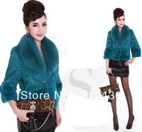 Lake blue color genuine naural fox fur collar rabbit fur coat jacket for ladies free shipping