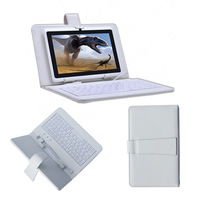 "USB White Leather Keyboard Case Cover Stand For Galaxy Tab 2 7"" P3100 For Nexus 7 For Kindle Fire HD 7 inch Tablet PC"