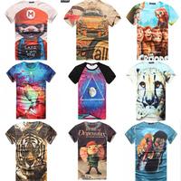 free shipping Men's 3D T-Shirt, Mens Cotton O-Neck Short Sleeve t shirts