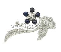 Free shipping!!!Freshwater Pearl Brooch,creative jewelry, Cultured Freshwater Pearl, with Zinc Alloy, Flower