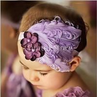 Free Shipping Baby Feather Flowers Headwear Headband FH01 - Purple