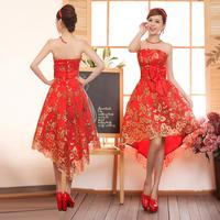 2013 wedding formal dress cheongsam red lace long design formal dress costume evening dress formal dress