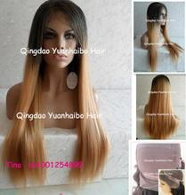 No Tangle 24 1b 27 silky straight 100 human hair brazilian lace wig Free Shipping
